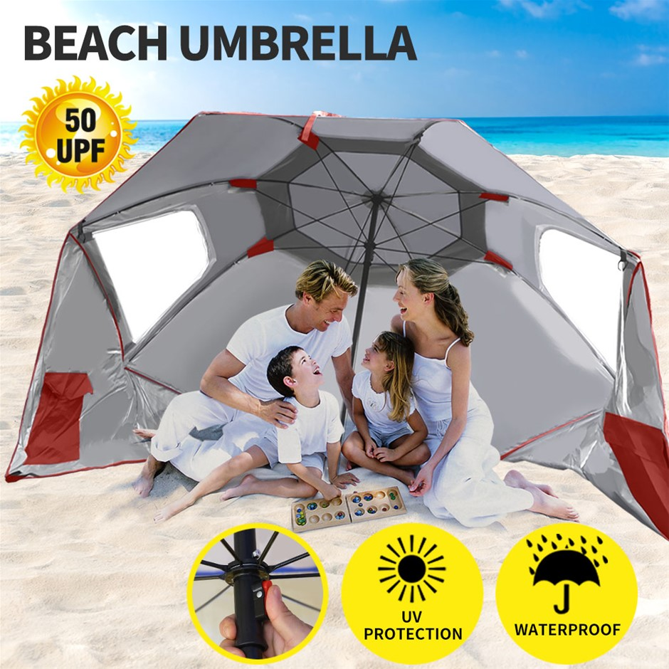 Beach Umbrella Outdoor Umbrellas Garden Sun Shade Shelter Weather Patio 2M
