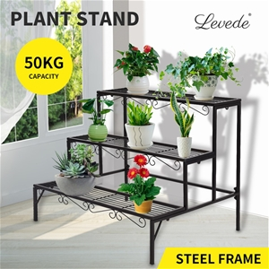 Levede Plant Stand 3 Tier Rectangle Meta