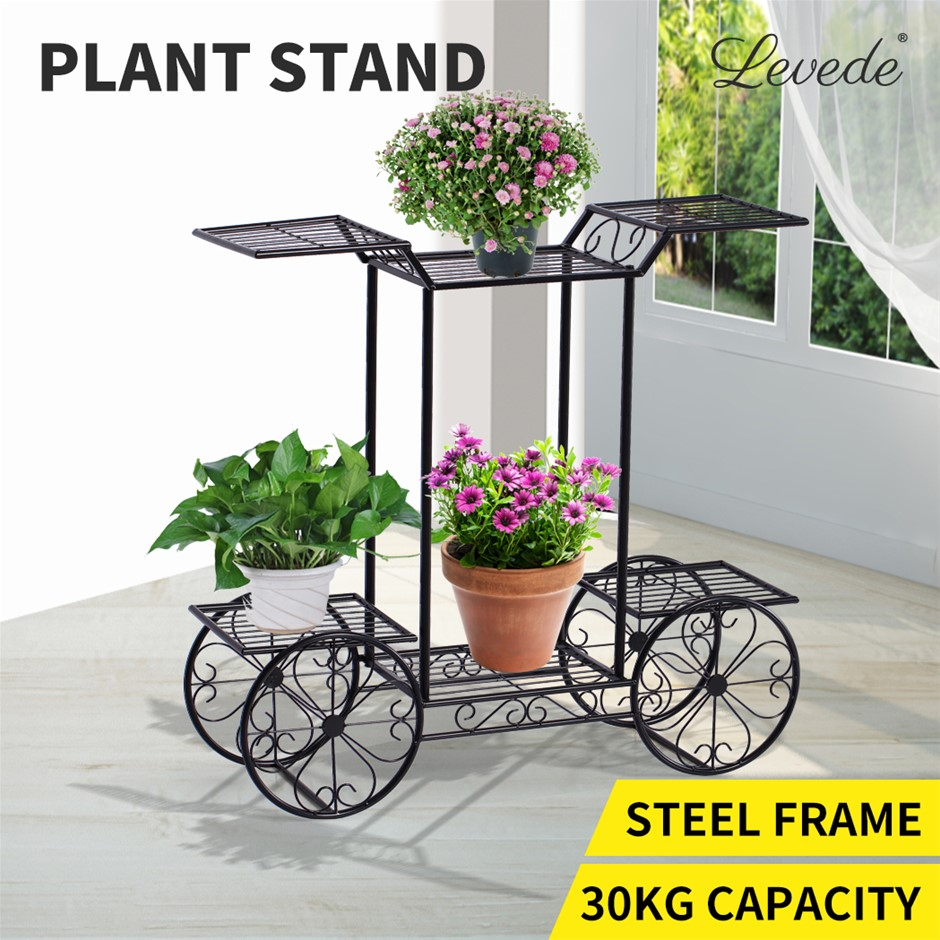 Outdoor Indoor Pot Plant Stand Garden Decor Flower Rack Shelf Wrought Iron
