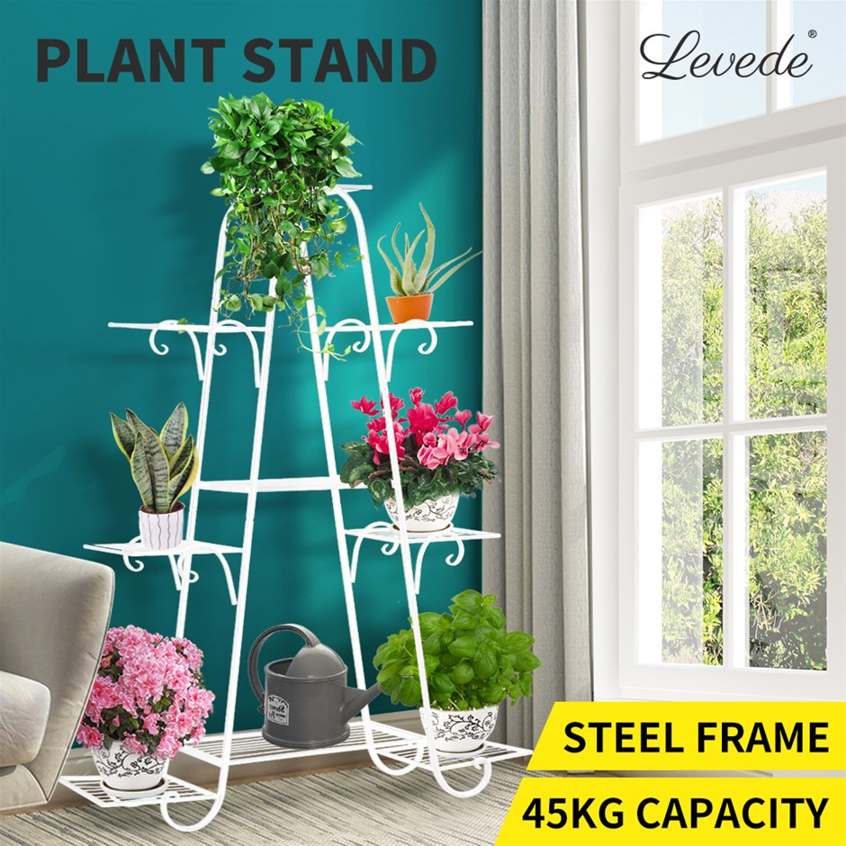 Levede Outdoor Indoor Metal Plant Sd Flower Pots Rack Garden Corner Shelf
