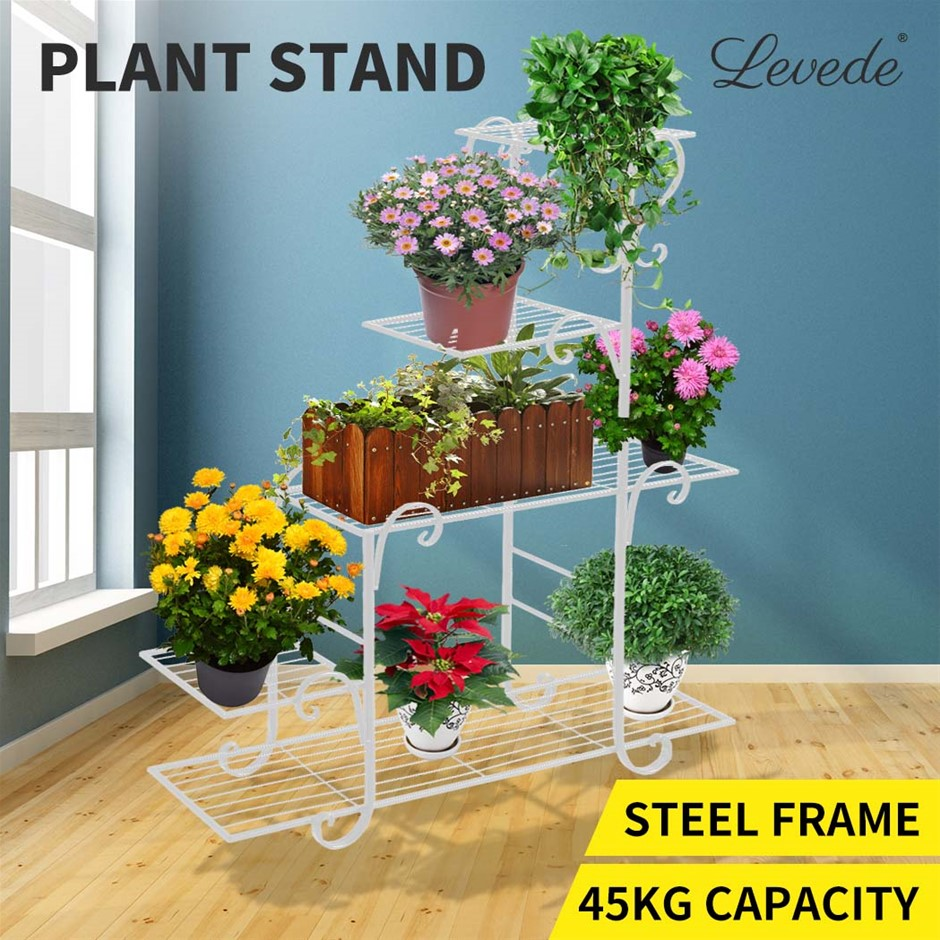 Levede Out/Indoor Plant Stand Metal Flower Pot Garden Corner Shelf Stands