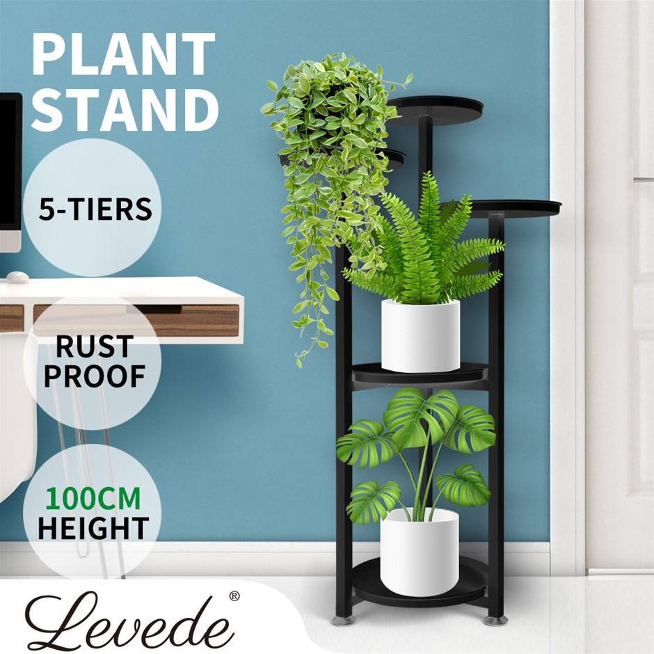 Levede Plant Stand Outdoor Indoor Flower Pots Rack Garden Shelf Black 100CM
