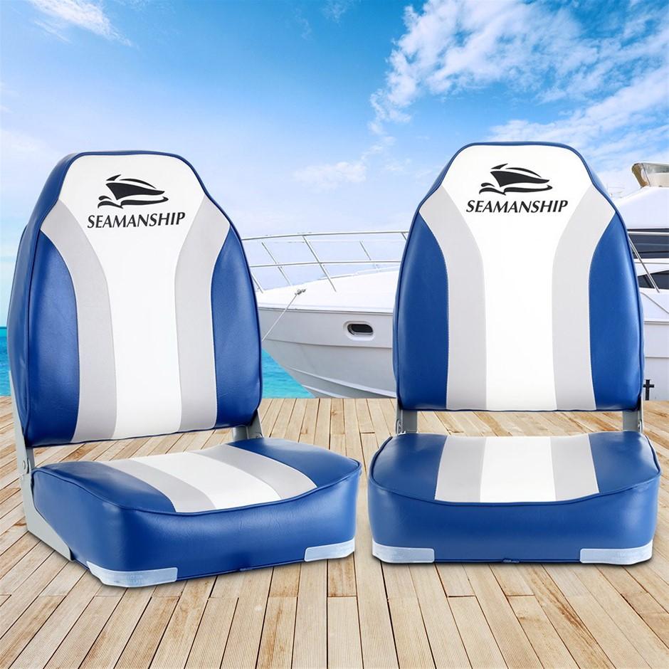 Seamanship 2X Folding Boat Seats Marine Seating Set All Weather Swivels