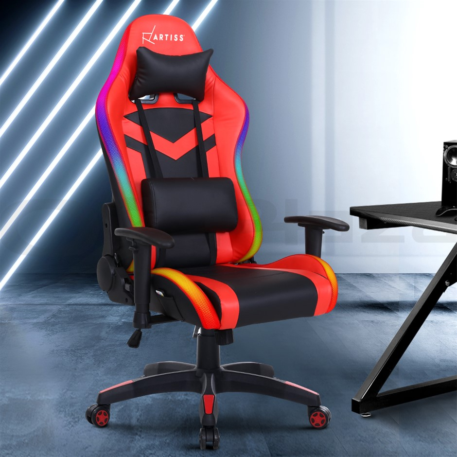 Artiss Gaming Office Chair RGB LED Lights Computer Desk Chair Work Chairs