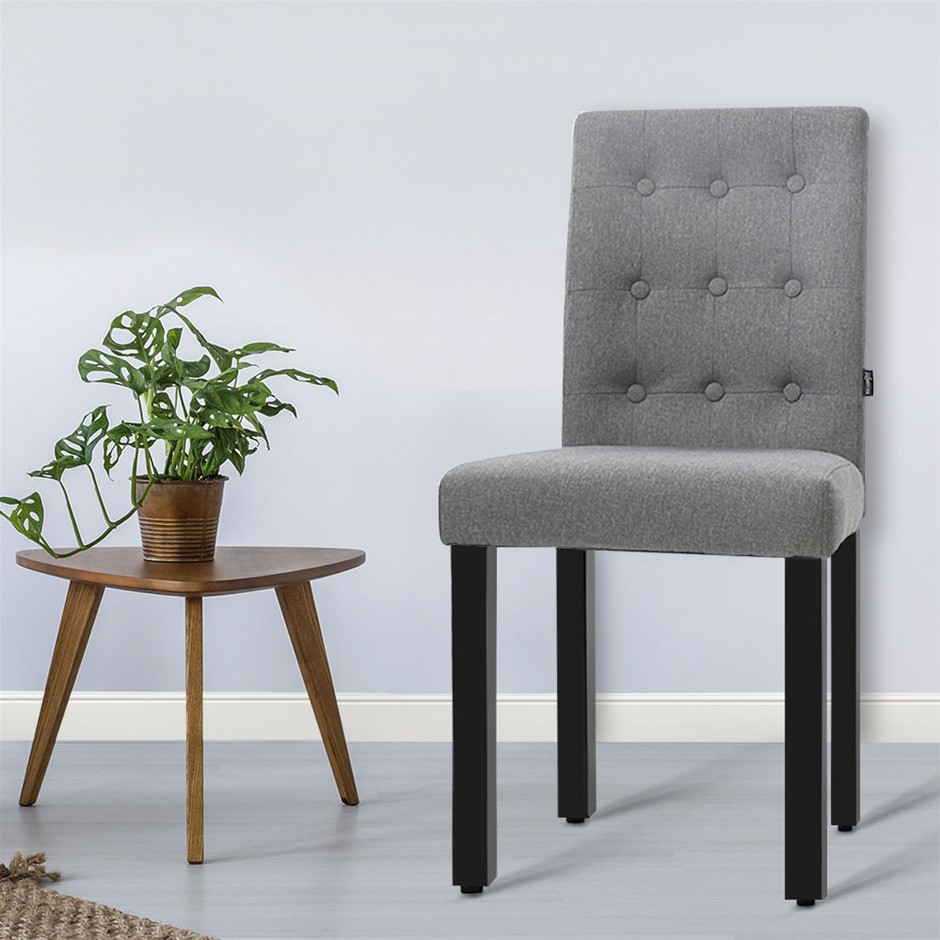 Artiss x2 DONA Dining Chair Fabric Foam Padded High Back Wooden Kitchen
