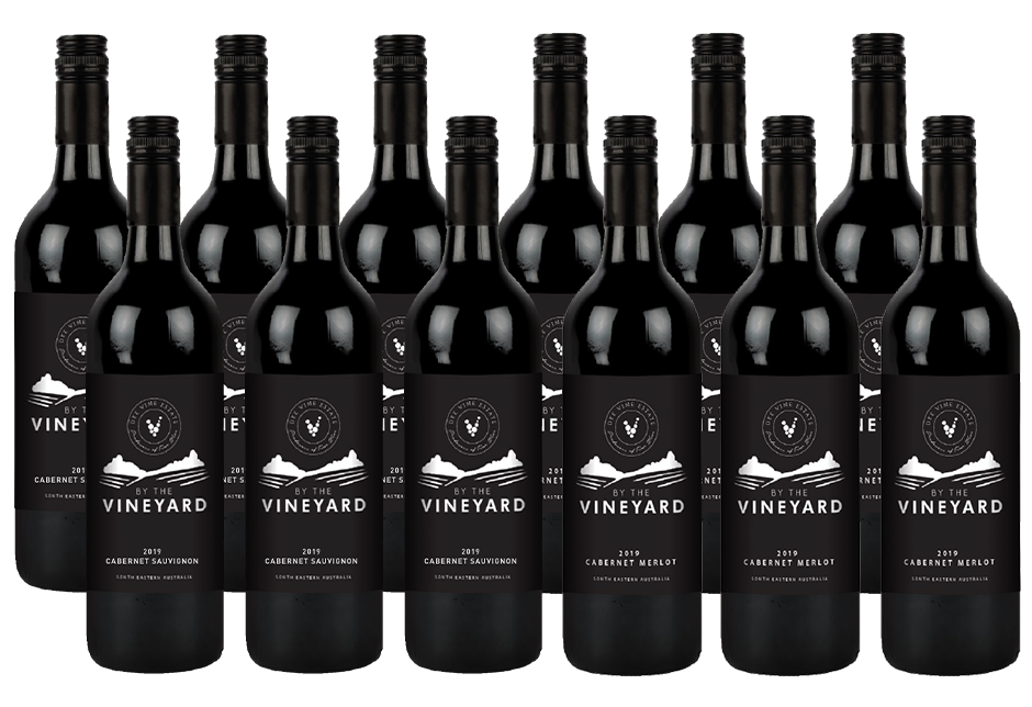By The Vineyard Mixed Pack Cab Sauv & Cab Merlot 2019 (12x 750mL). SEA.