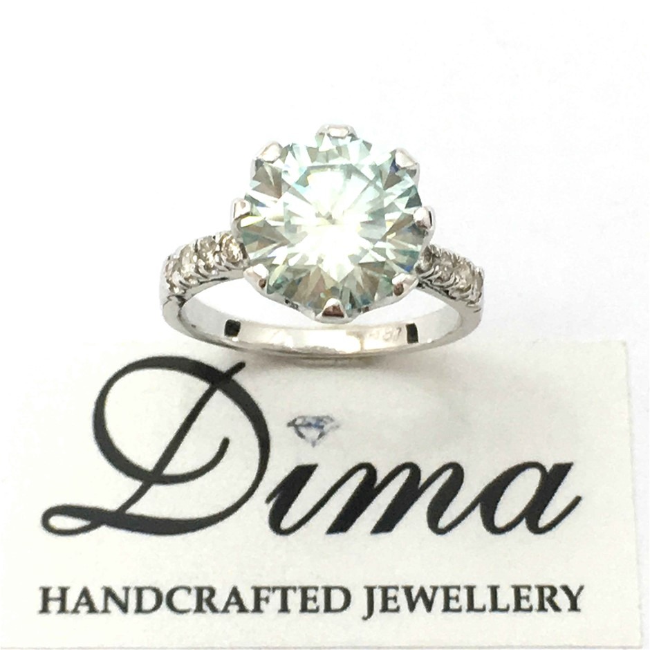 18ct White Gold, 3.70ct Moissanite and Diamond Ring