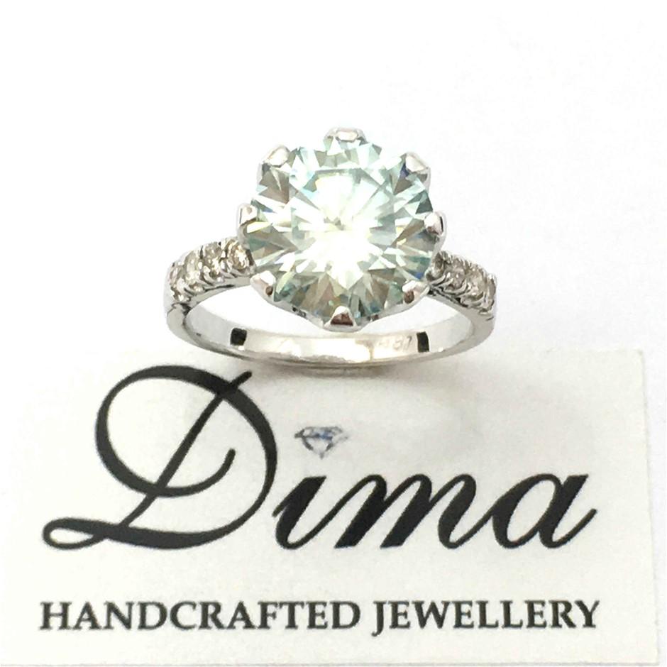 18ct White Gold, 3.70ct Moissanite and Diamond Ring
