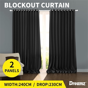 2x DreamZ out Eyelet Curtains Blockout C
