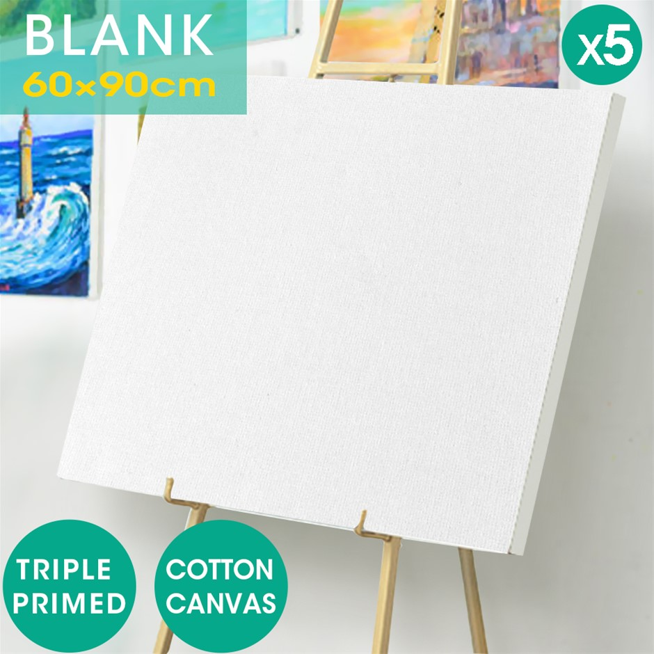 5x Blank Artist Stretched Canvas Canvases Art Oil Acrylic Wood 60x90cm