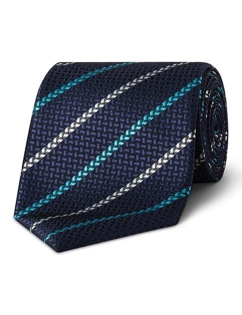 VAN HEUSEN Navy & Teal Stripe VH Poly Tie, Colour: Teal. Buyers Note - Disc