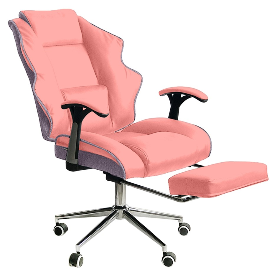 PU Upholstered Modern Reclining Executive Office Chair with foot stool
