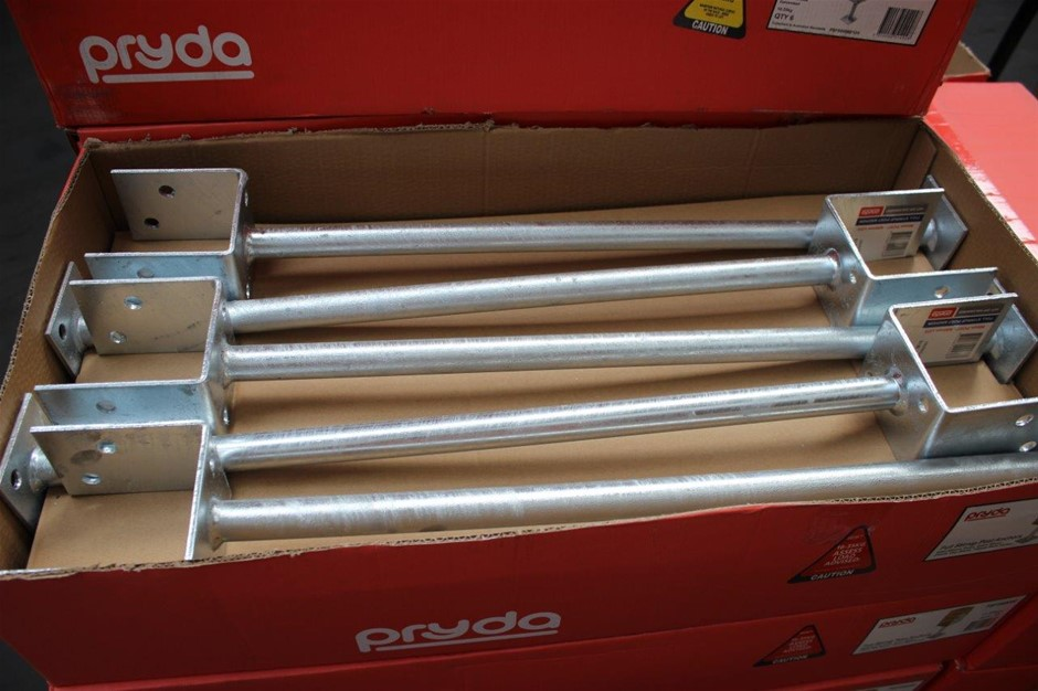 Box of 10 Pryda Full Stirrup Post Anchor 90mm Post 600mm