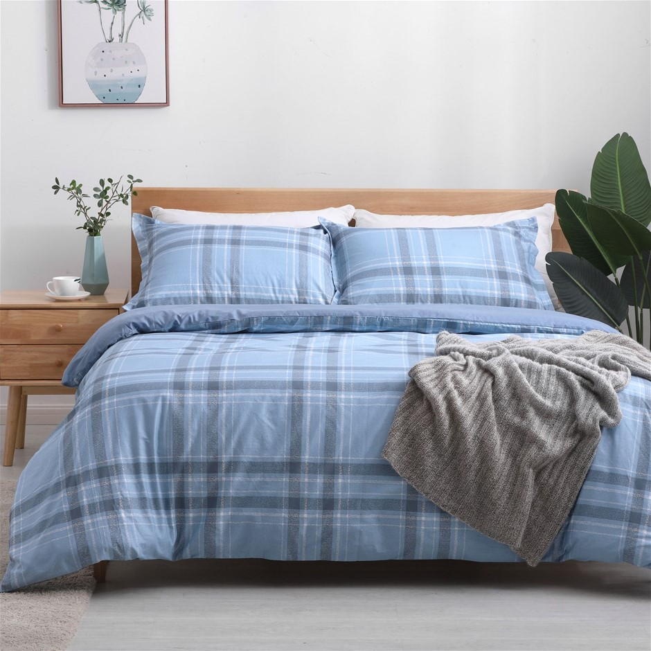 Dreamaker 250TC Egyptian Cotton Printed Quilt Cover Set Single Bed Finlay
