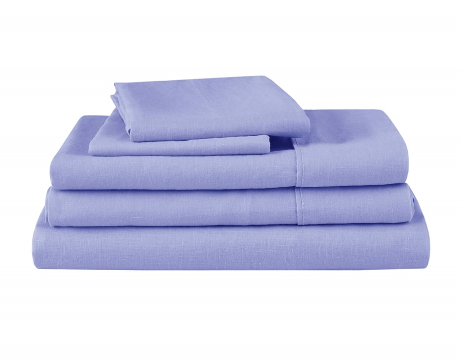 Natural Home Linen Sheet Set Super King Bed BLUE
