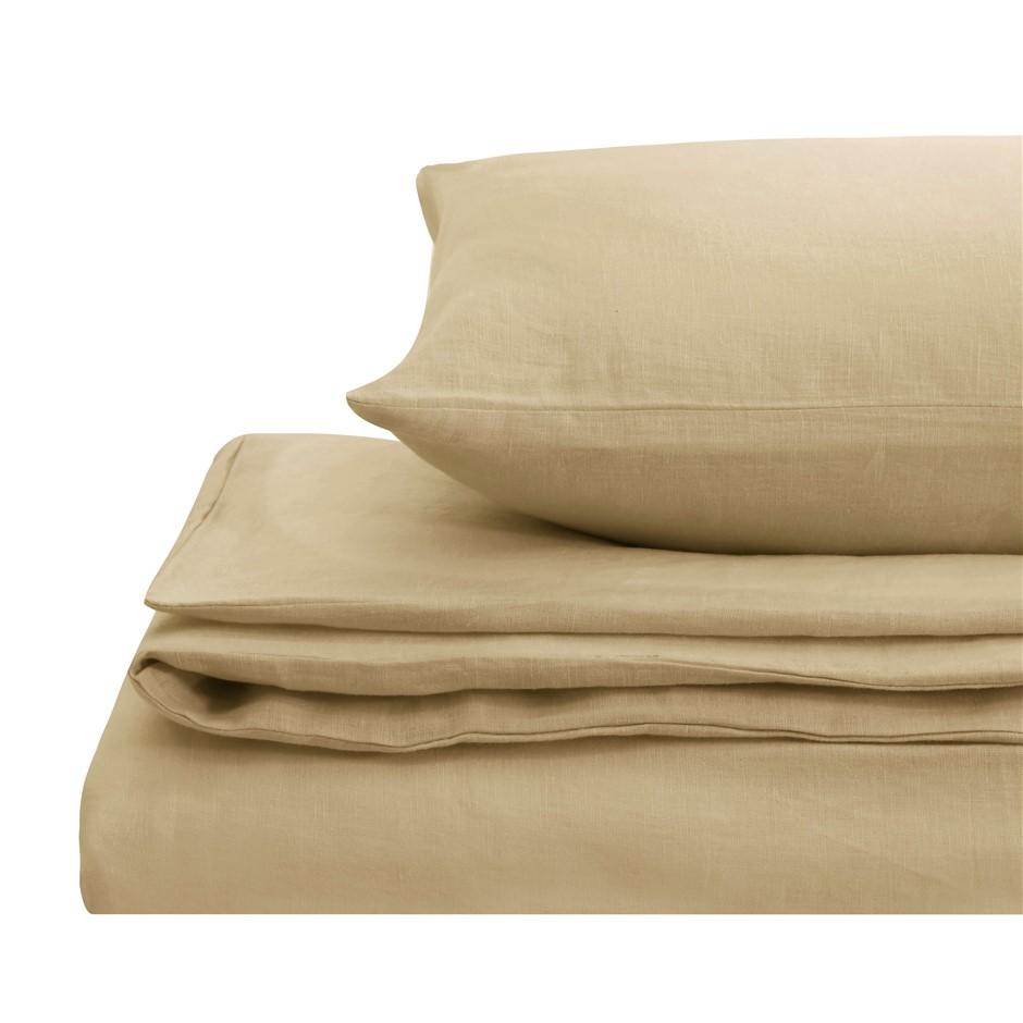 Natural Home Linen Quilt Cover Set Double Bed HAZENLUT