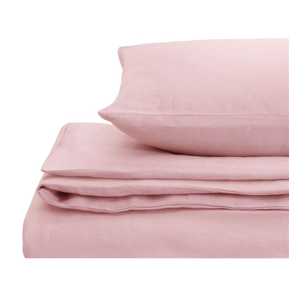 Natural Home Linen Quilt Cover Set Super King Bed Blush Pink