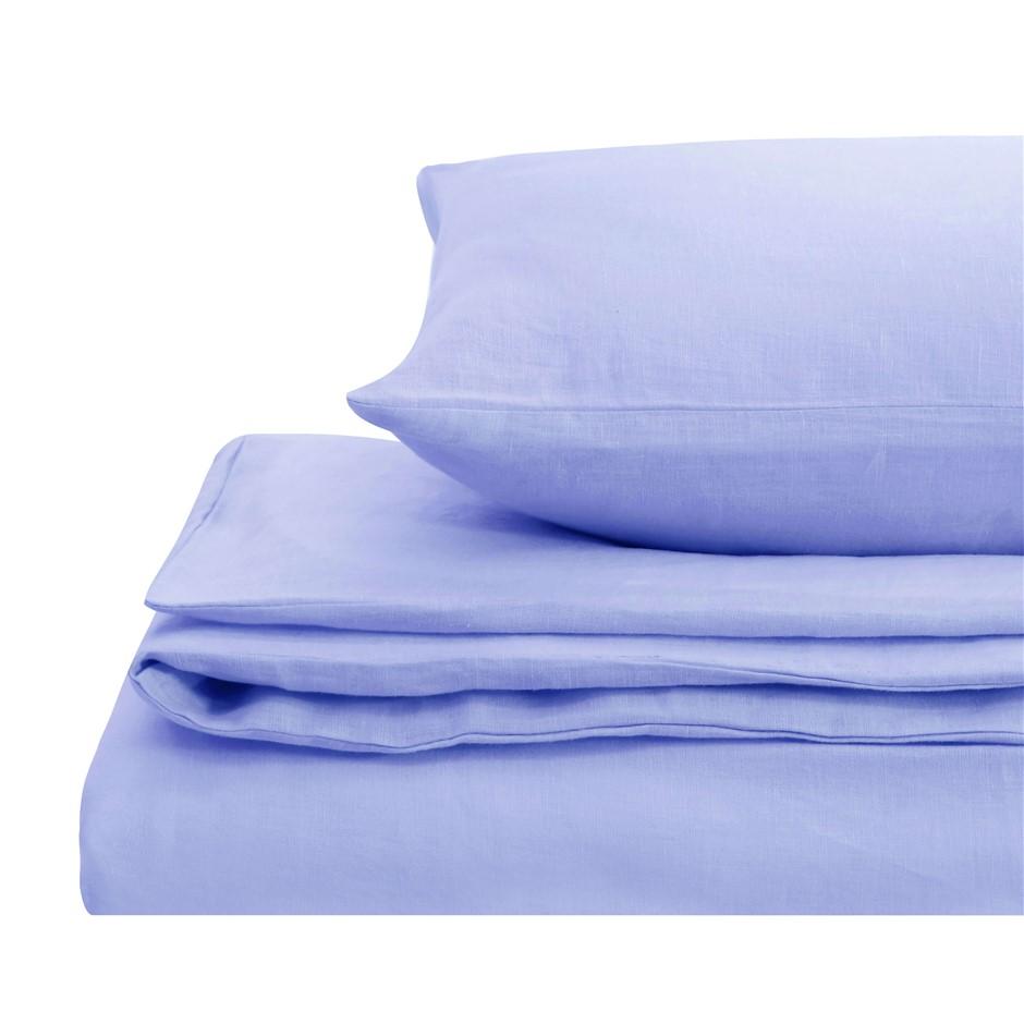 Natural Home Linen Quilt Cover Set King Bed BLUE