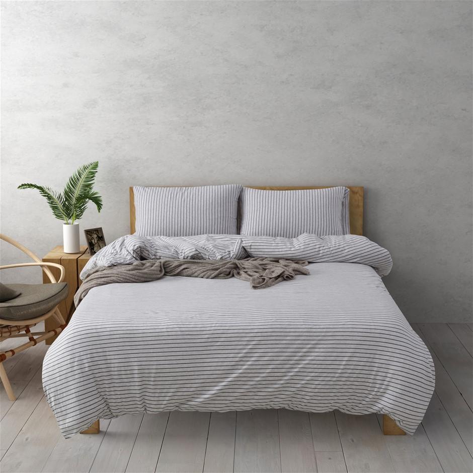 Dreamaker Cotton Jersey Quilt Cover Set Durham Queen Bed