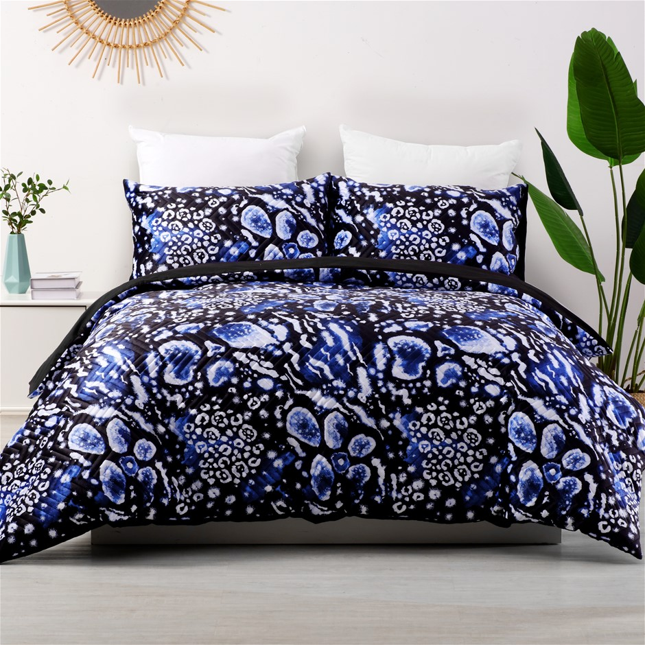 Dreamaker velvet digital print pinsonic quilted Quilt Cover Set King Bed
