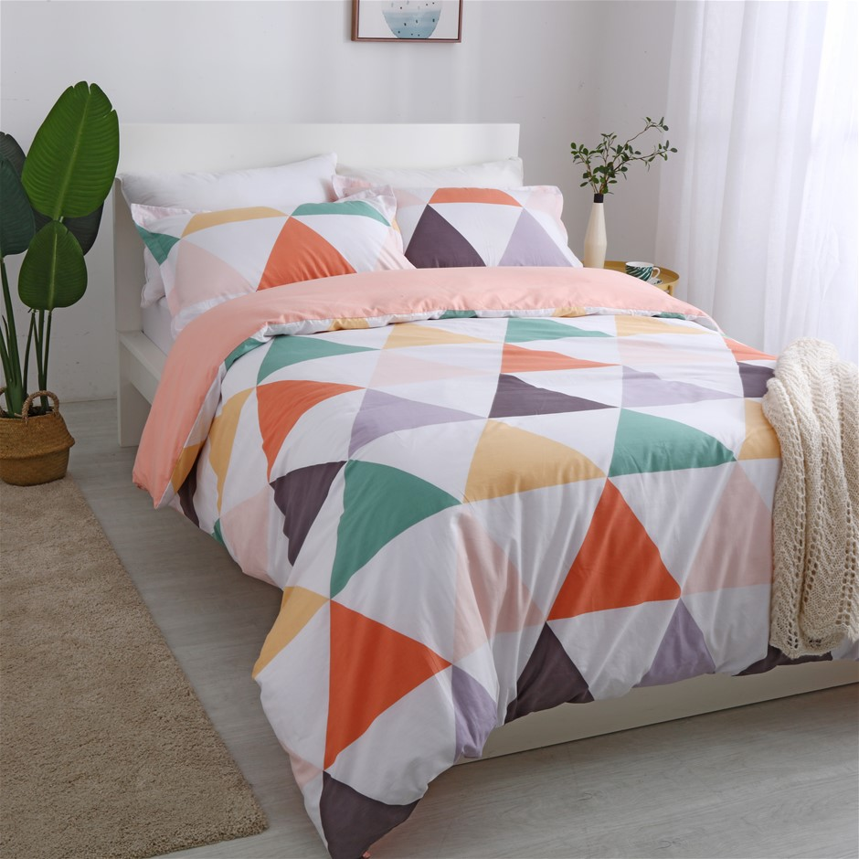 Dreamaker 250TC Egyptian Cotton Printed Quilt Cover Set SingleBed Amsterdam