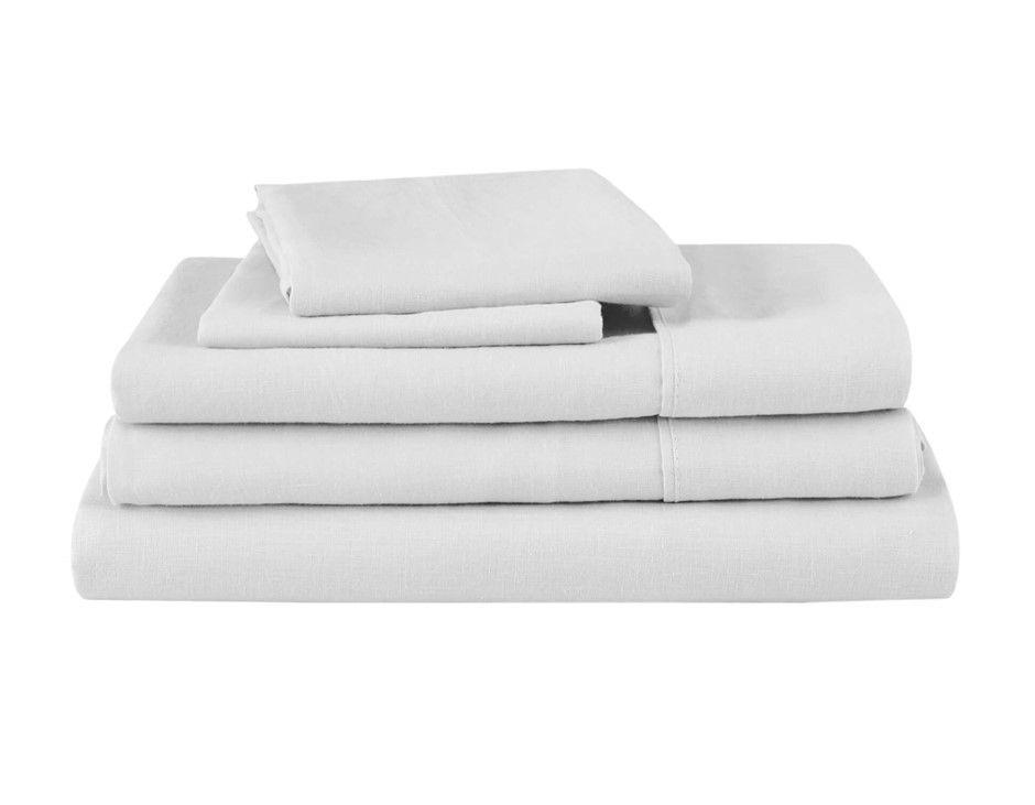 Natural Home Linen Sheet Set Queen Bed WHITE