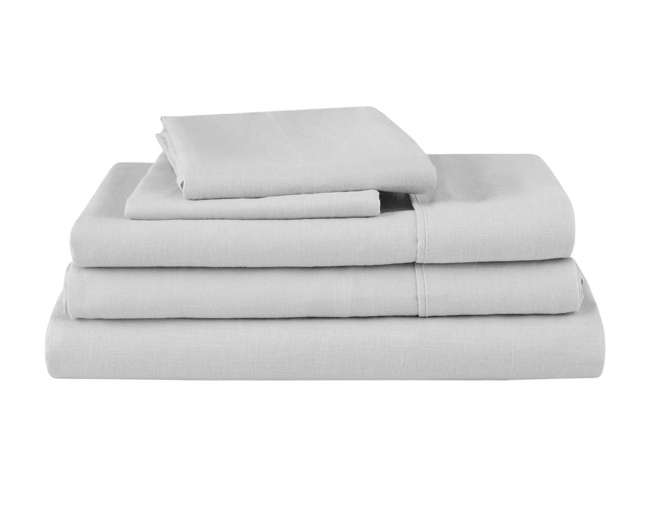 Natural Home Linen Sheet Set Double Bed SILVER