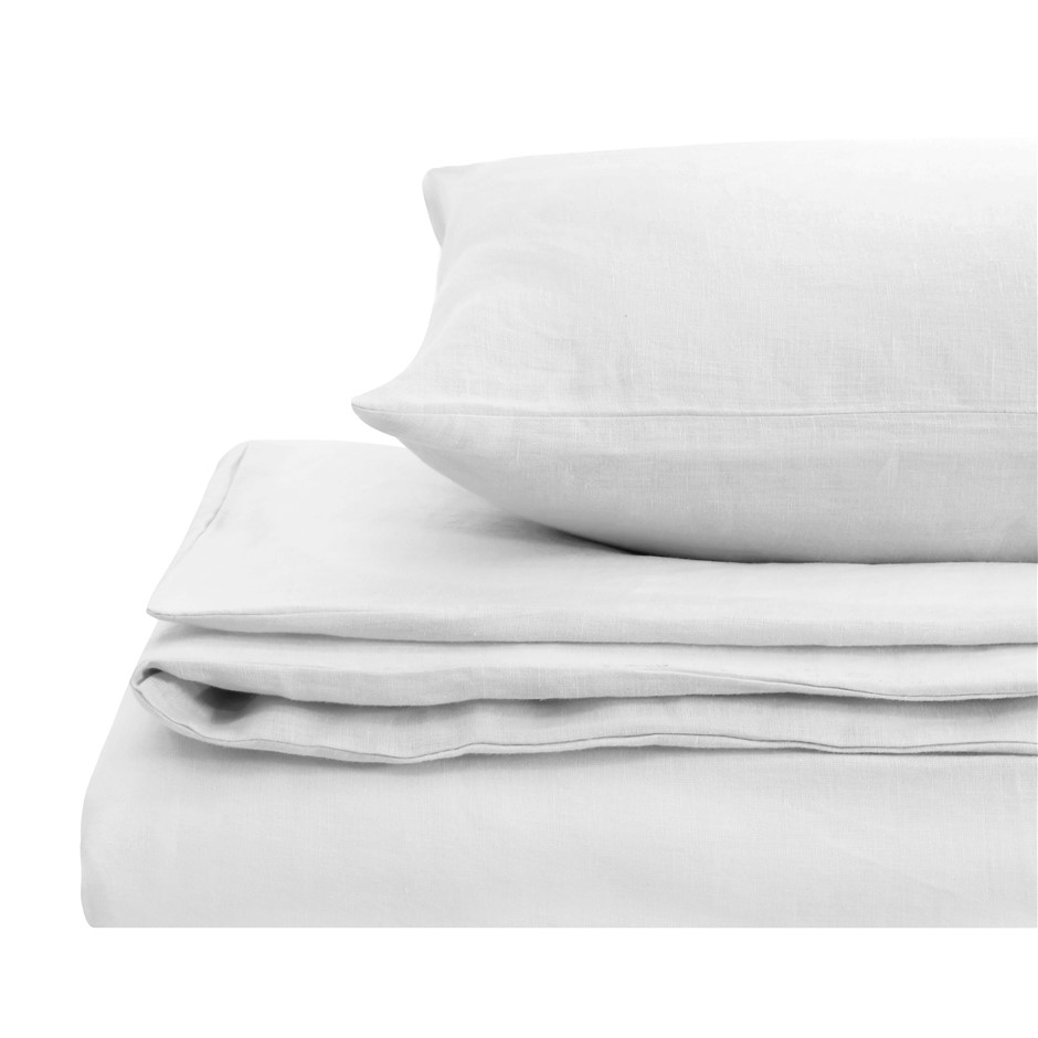 Natural Home Linen Quilt Cover Set King Bed WHITE
