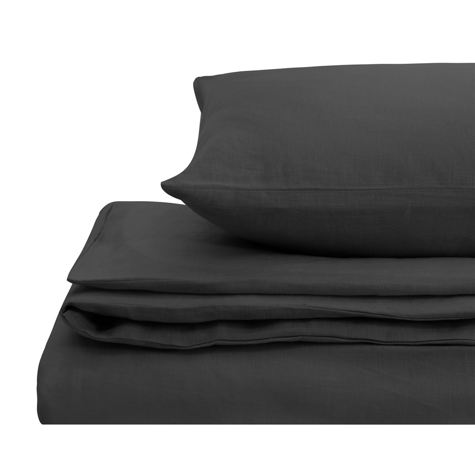 Natural Home Linen Quilt Cover Set Queen Bed CHARCOAL