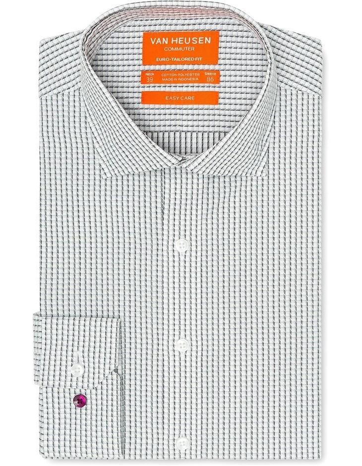VAN HEUSEN White Ground Black and Grey Check Shirt. Size 40. Cotton Blend.