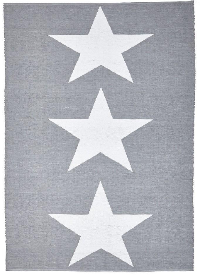 Medium Grey Upcycled Star Flatwoven Rug - 220X150cm