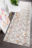Large Grey Triangles Runner Rug - 400X80cm