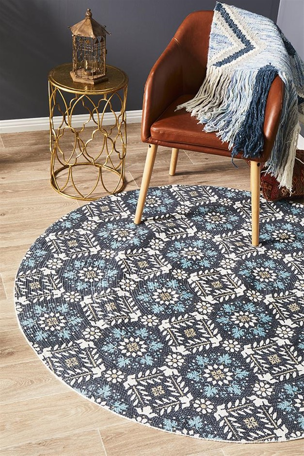 Round Blue Hand Braided Cotton Florale Flat Woven Rug - 150X150cm