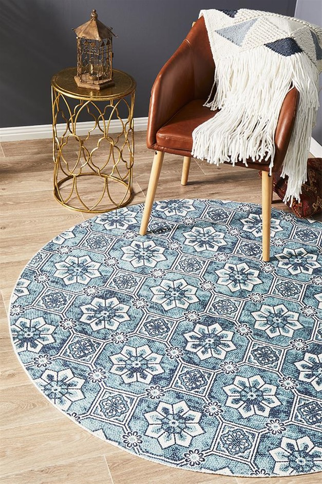 Round Sky Blue Hand Braided Cotton Blooming Flat Woven Rug - 200X200cm
