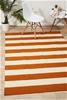 Medium Orange Handmade Wool Striped Flatwoven Rug - 225X155cm