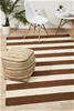 Large Taupe Handmade Wool Striped Flatwoven Rug - 280X190cm