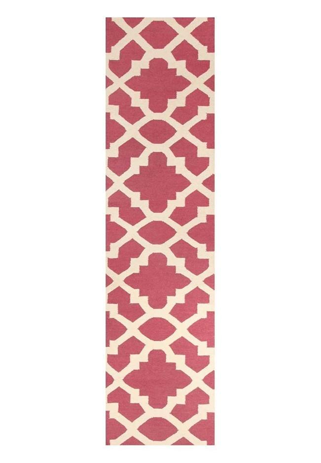 Large Pink & White Handmade Wool Trellis Flatwoven Runner Rug - 400X80cm