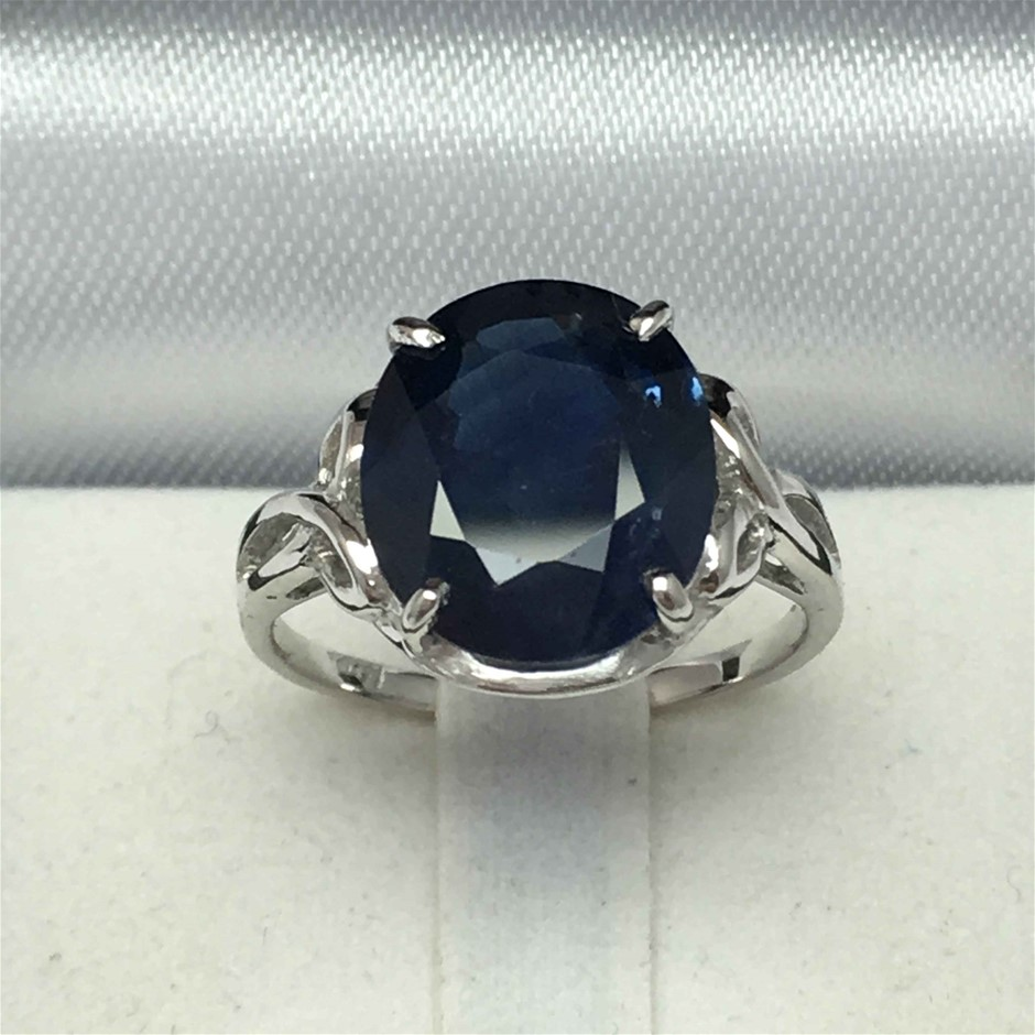 18ct White Gold, 6.38ct Blue Sapphire Ring
