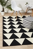 Large Black Handmade Wool Arrows Flatwoven Rug - 280X190cm