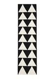 Large Black Handmade Wool Arrows Flatwoven Runner Rug - 400X80cm