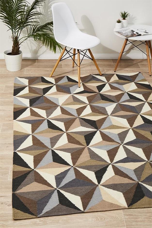 Medium Grey Handmade Wool Geometric Flatwoven Rug - 225X155cm