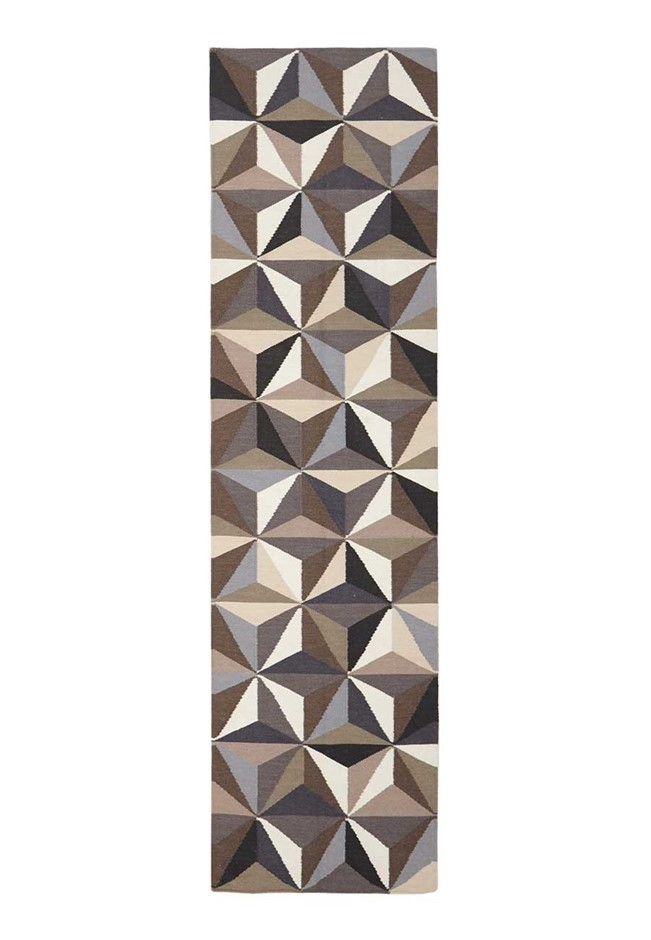 Medium Grey Handmade Wool Geometric Flatwoven Runner Rug - 300X80cm