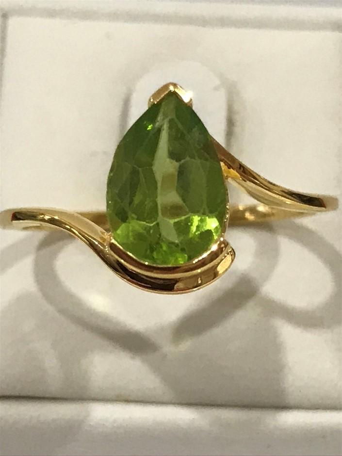 Genuine 3.50ct Peridot & 18K Y/Gold Vermeil Ring. Size R (8.75)