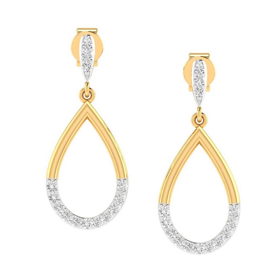 9ct Yellow Gold, 0.13ct Diamond Earring