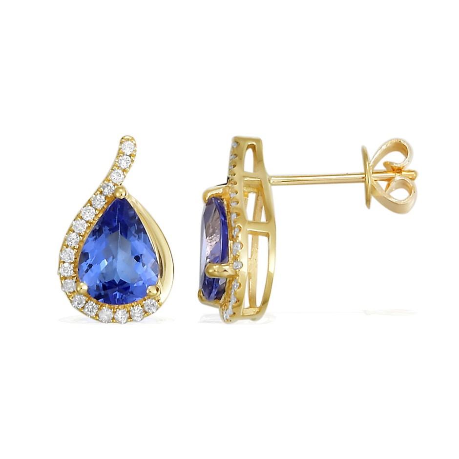 9ct Yellow Gold, 2.12ct Tanzanite and Diamond Earring