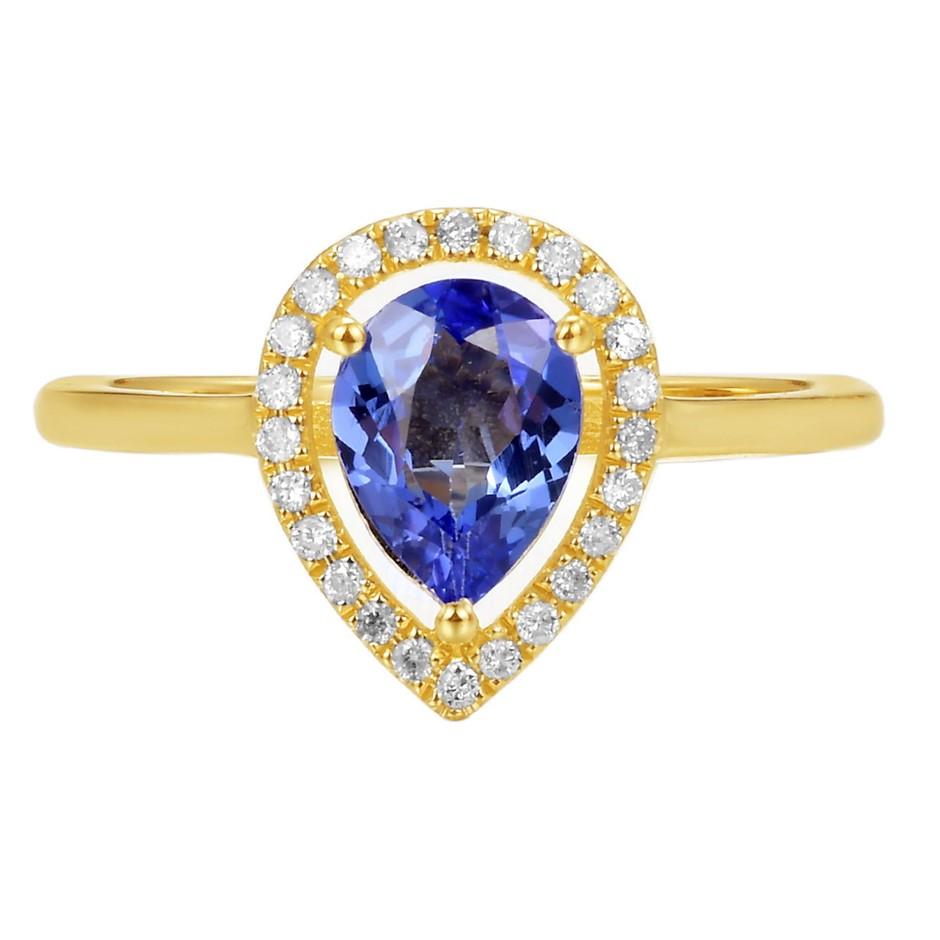 9ct Yellow Gold, 1.08ct Tanzanite and Diamond Ring