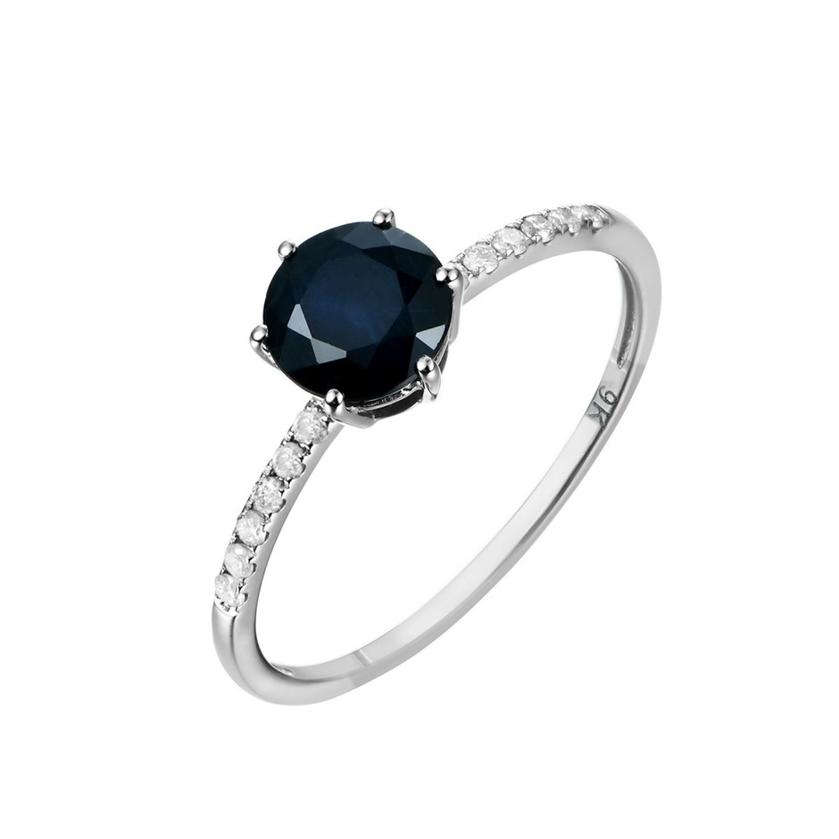 9ct White Gold, 1.21ct Blue Sapphire and Diamond Ring