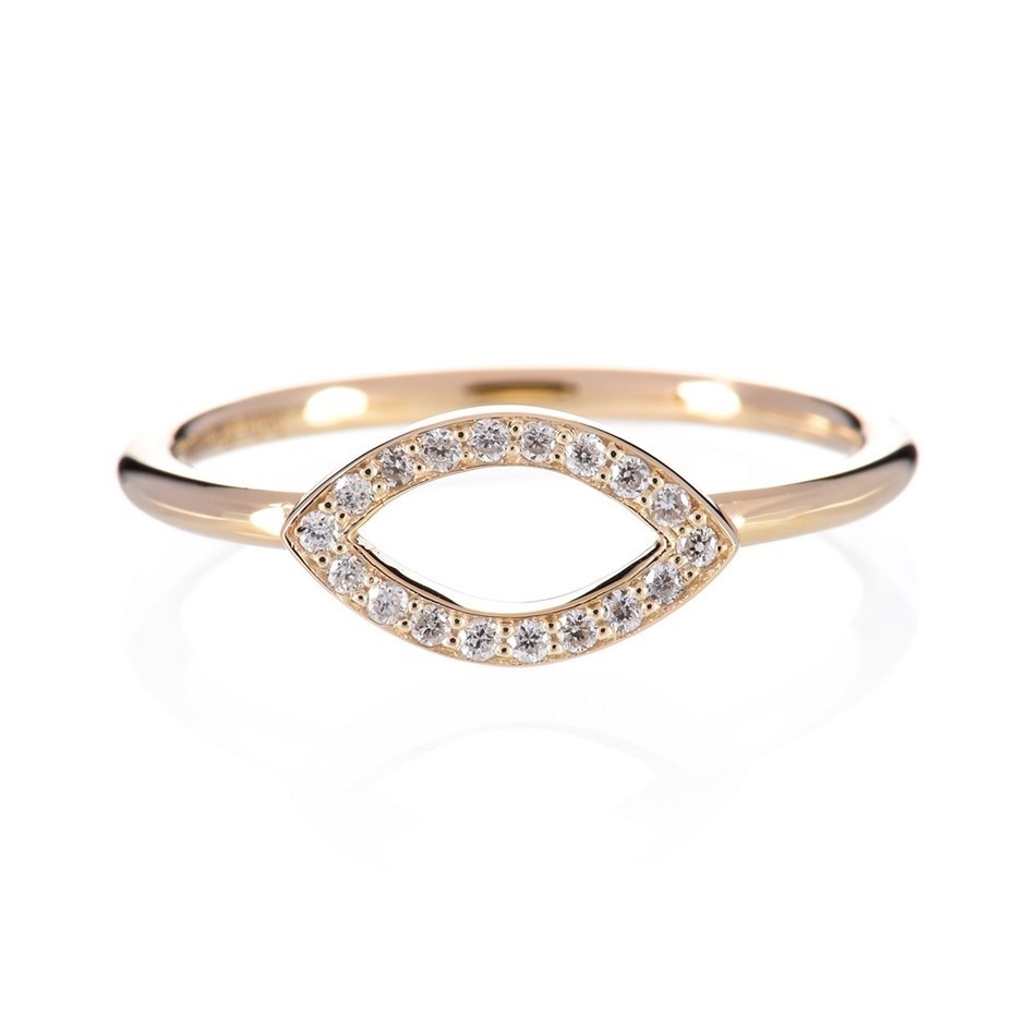 9ct solid yellow gold and diamond ring 0.10ct TDW