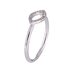 9ct solid white gold and diamond ring 0.
