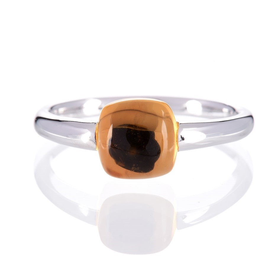 9ct solid white gold natural buff top cushion shape Citrine in edge setting
